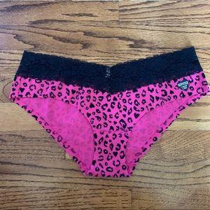 PINK Victoria's Secret Hipster Leopard & Lace Sz L
